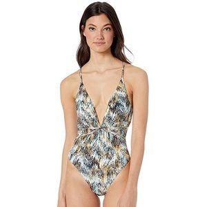 bcbg max azria // shirred one piece swimsuit
